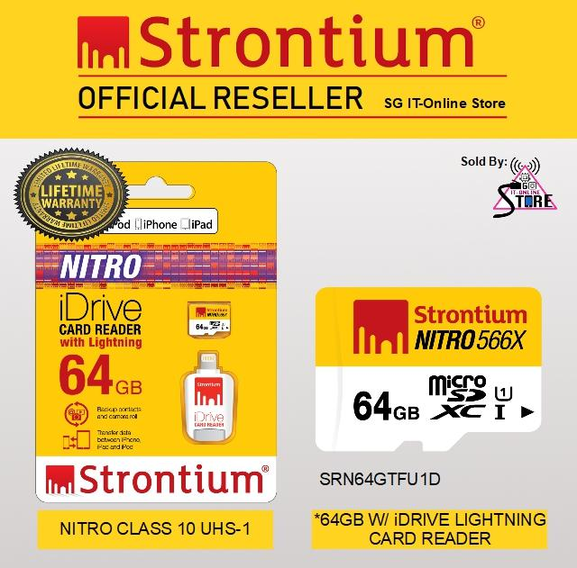 Sale Strontium Nitro Microsd 64Gb Class 10 Uhs 1 With Idrive Lightning Card Reader On Singapore