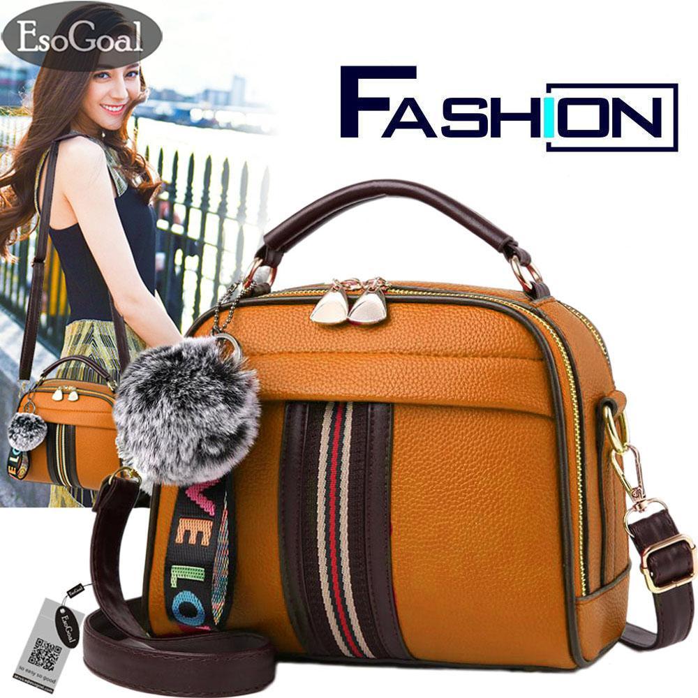 Price Esogoal Women Fashion Leather Handbag Top Handle Shoulder Bag Tote Purse Messenger Satchel Bags With Lovely Plush Ball Online China