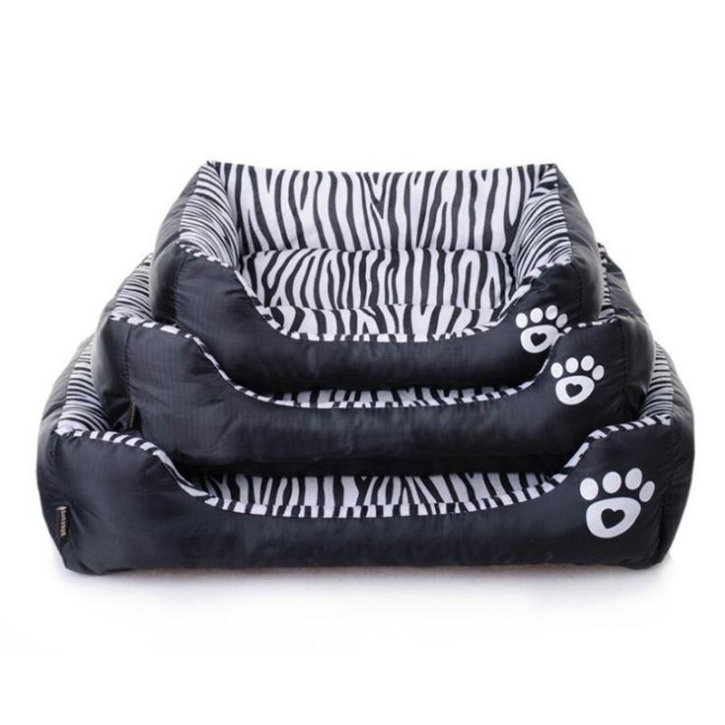 Waterproof Pet Dog Beds Black White Striped 3 Sizes Beds For Dog Puppy Dogs Soft Sofas Dogs Product Supplies Cama Para Cachorro On Line