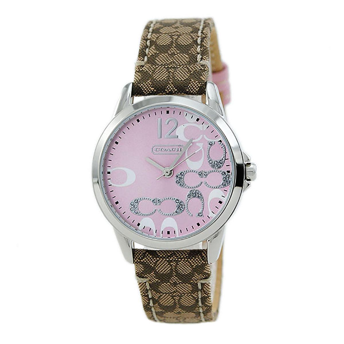 Discount Coach Watch Signature Brown Stainless Steel Case Leather Strap Ladies 14501621