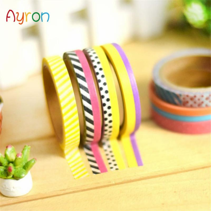 Mua 3 Pcs/Pack Candy Color Rainbow Striped Dots Washi Tape DIY Decorative Tape Color Paper Adhesive Tapes - intl