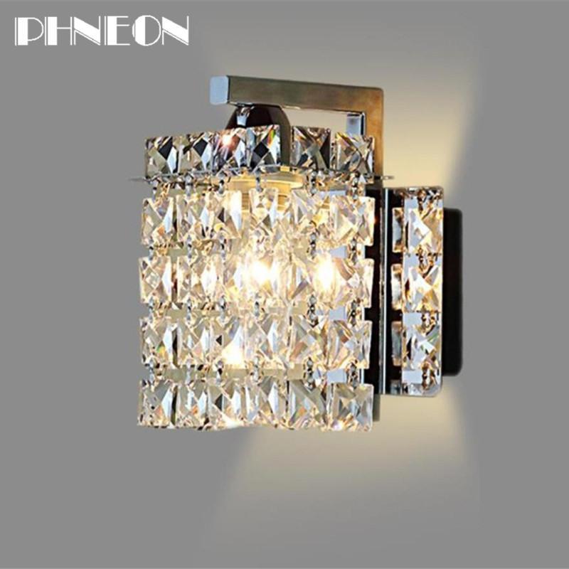 PHNEON Led Crystal Wall Lamp Wall Lights Luminaria Home Lighting Living Room Modern Wall Light Lampshade For Bathroom