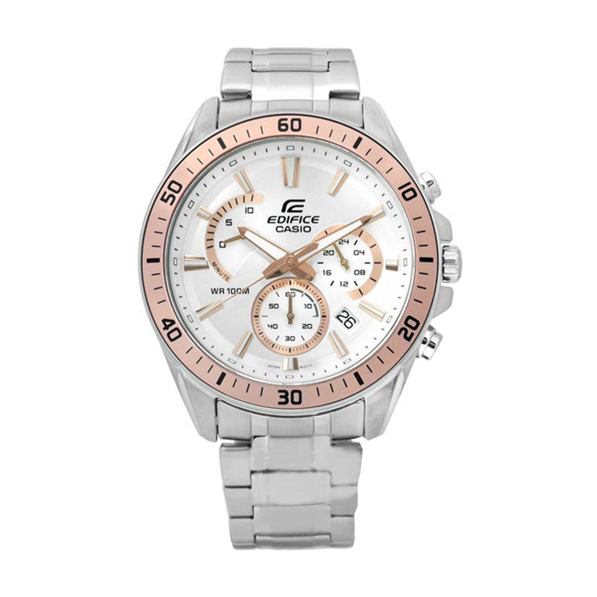 Deals For Casio Casio Edifice Chronograph Silver Stainless Steel Case Stainless Steel Bracelet Mens Efr 552D 7A