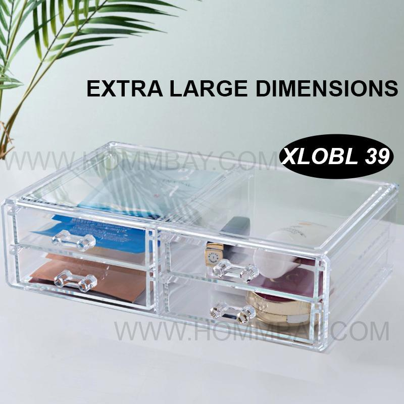 Clear Acrylic Transparent Make Up Makeup Lipstick Brush Brushes Cosmetic Jewellery Jewelry Organiser Organizer Drawer Storage Box Holder I Extra Large I Stackable I XLOBL 39