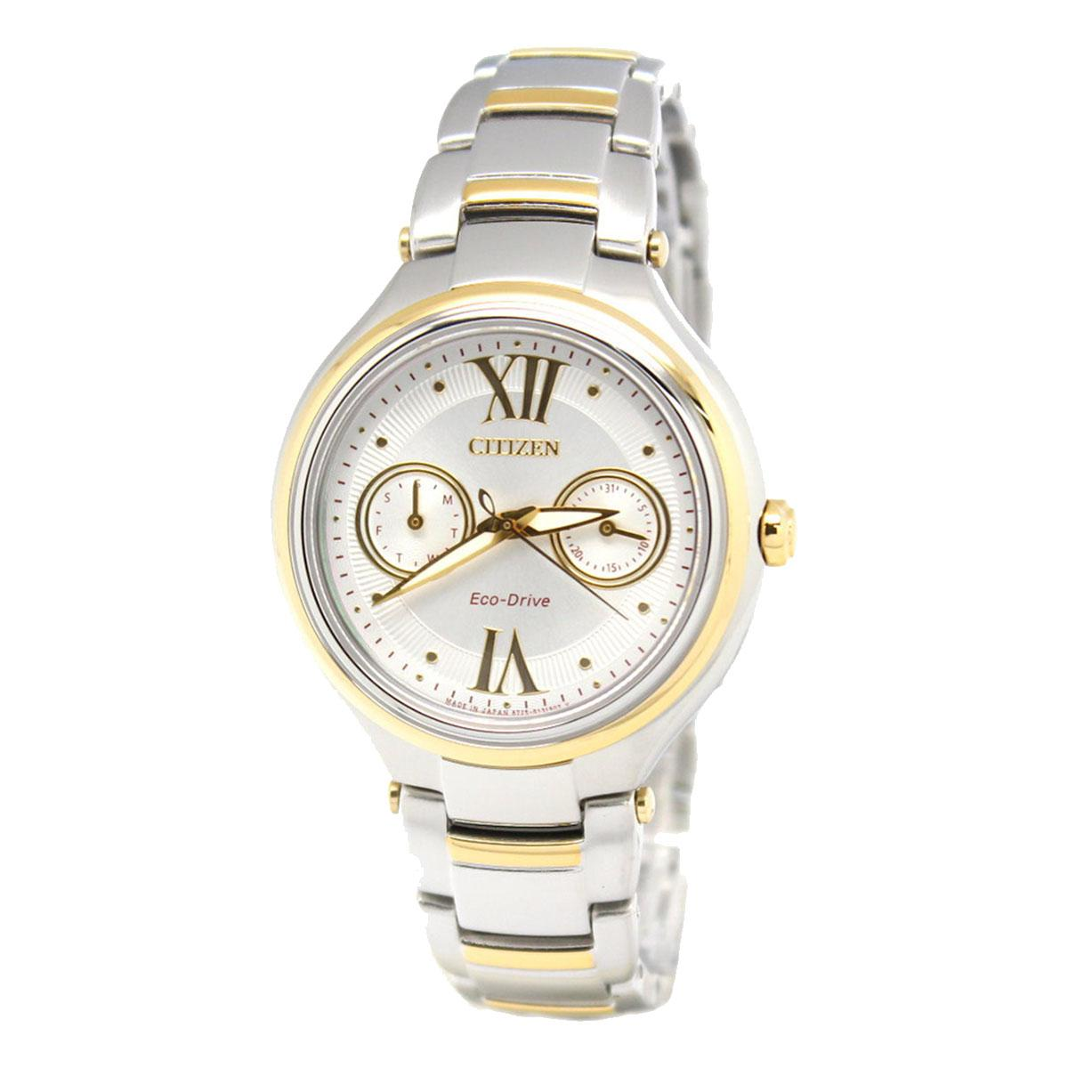 Citizen Watch Eco Drive Multicolored Stainless Steel Case Two Tone Stainless Steel Bracelet Ladies Fd4005 57A In Stock