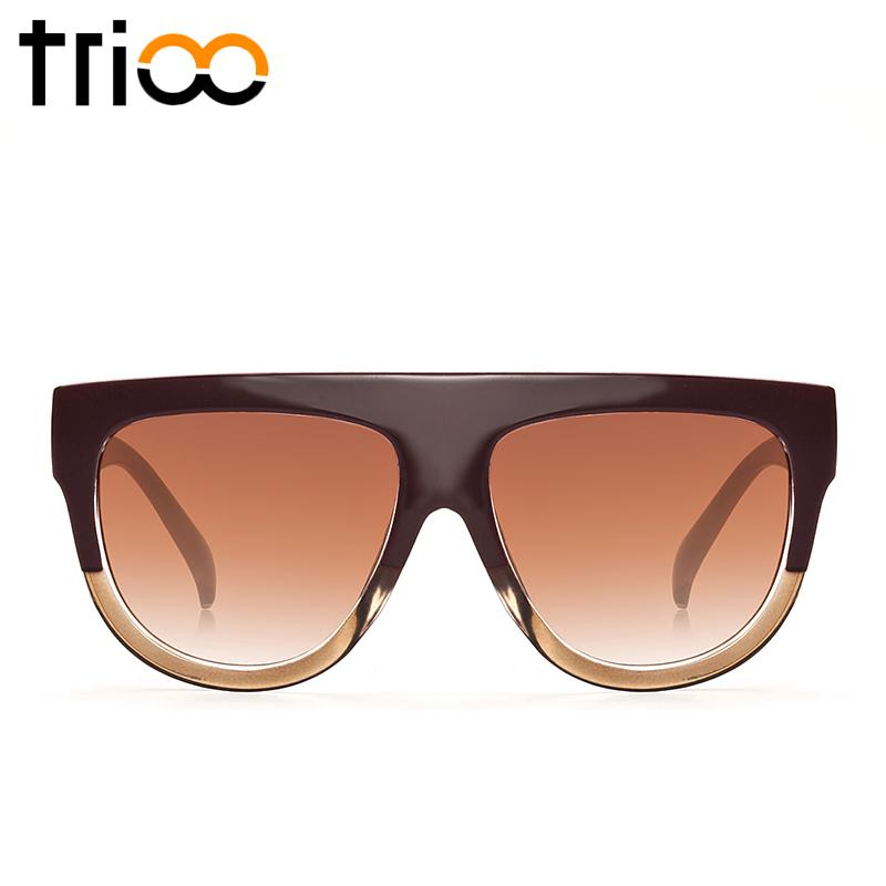 TRIO Mode Flat Top Ladies Sunglasses Kebesaran Warna Tortoiseeshell Shades Brown Gradient Lens Shadow Kacamata Matahari Untuk Wanita Cream
