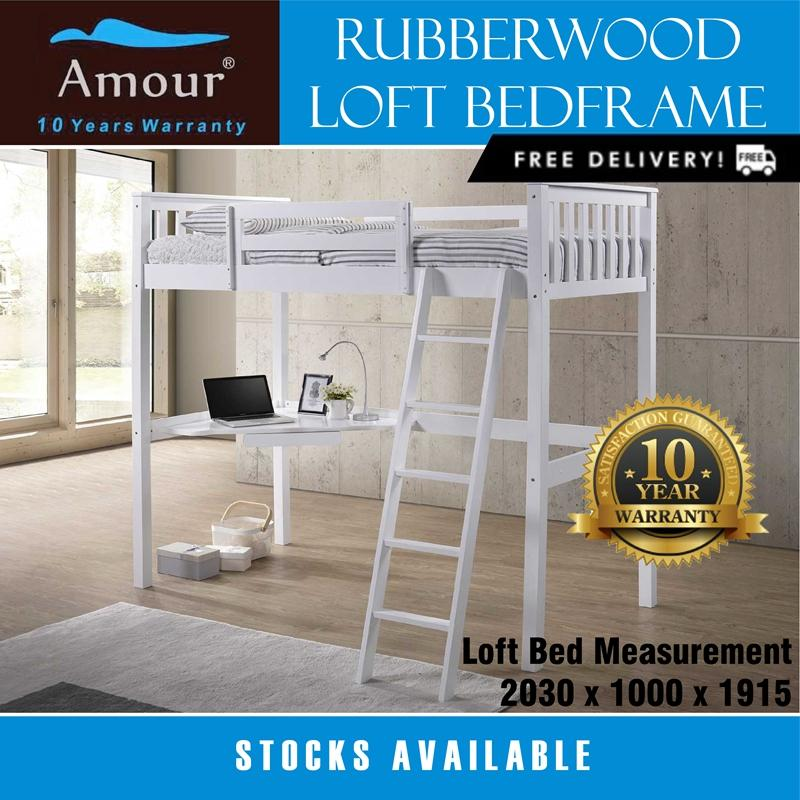Best Rated Amour Brand Single Size Wooden Loft Bed Best In Lazada