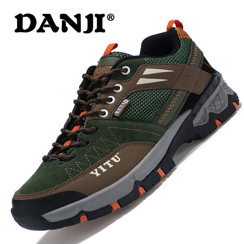 DanJi 2018 Empat Musim Sepatu Hiking Untuk Pria / Wanita Dewasa Luar Atletik Pria Sneakers Bernapas Trekking Sepatu Gunung Olahraga Climbing