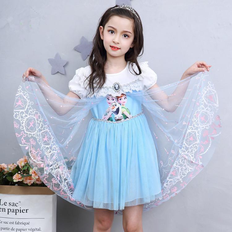 Anak Prempuan Gaun Model Baru Kartun Frozen Aisha Gaun Putri Lengan Pendek Musim Panas AISHA Katun