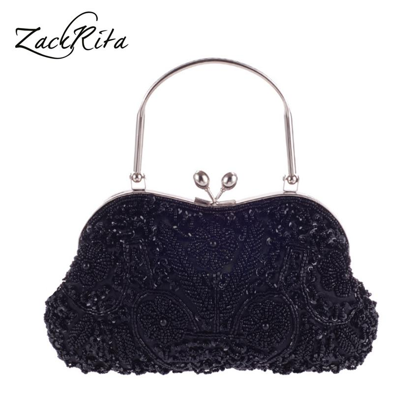 Price Zackrita Women Delicate Hand Made Beading Embroidery Dinner Party Hand Bag B37 Zackrita