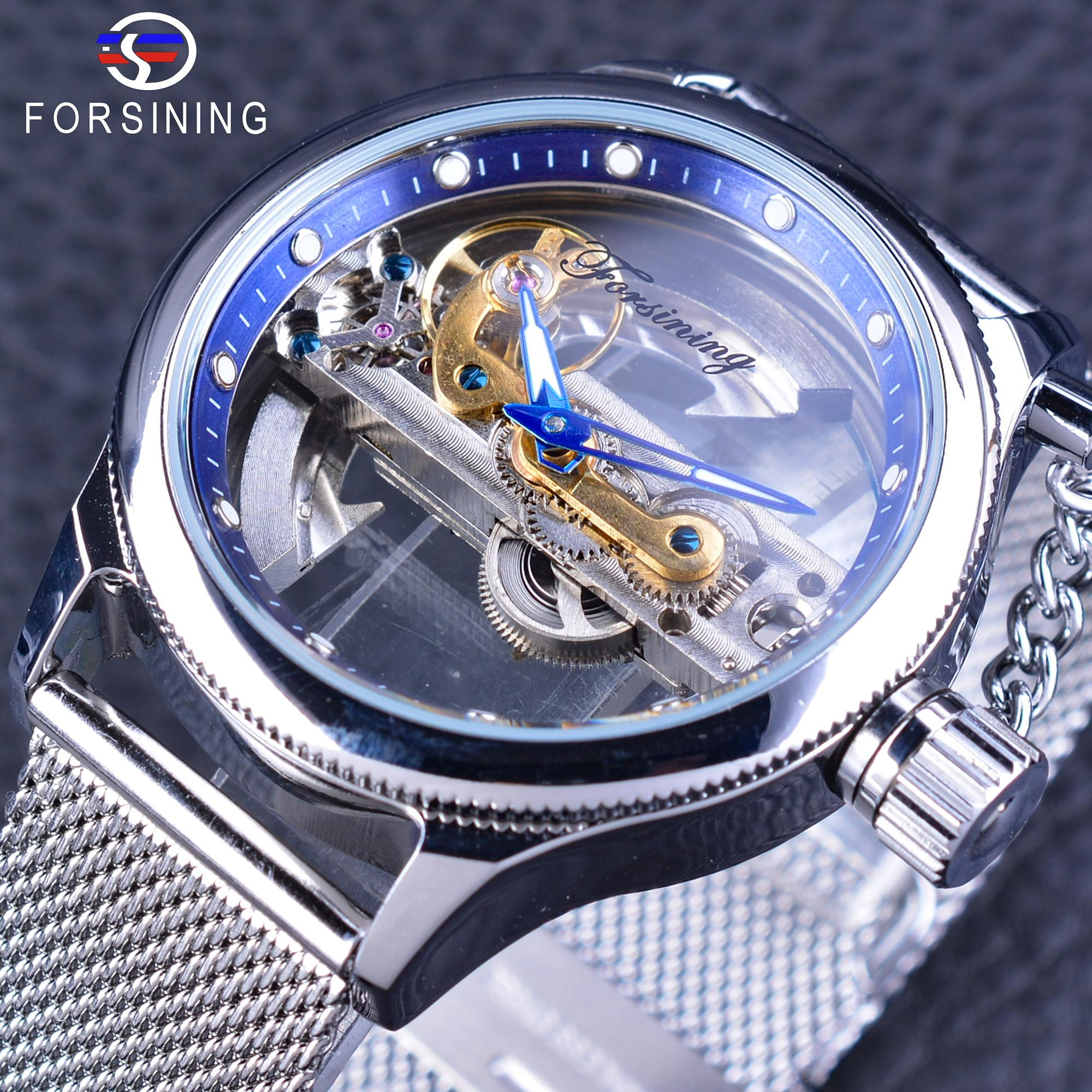 Forsining Blue Ocean Mysterious Apple Mesh Band Double Side Transparent Creative Watch Malaysia