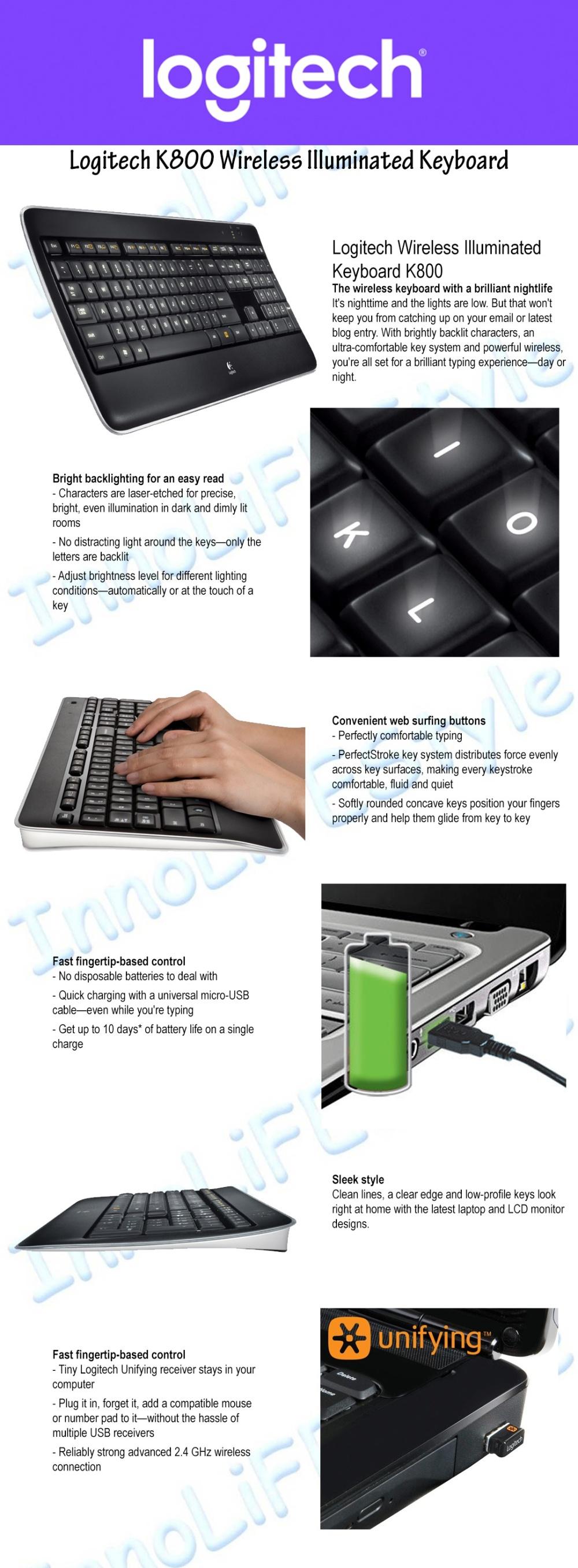 Logitech K800 Illuminated Wireless Keyboard