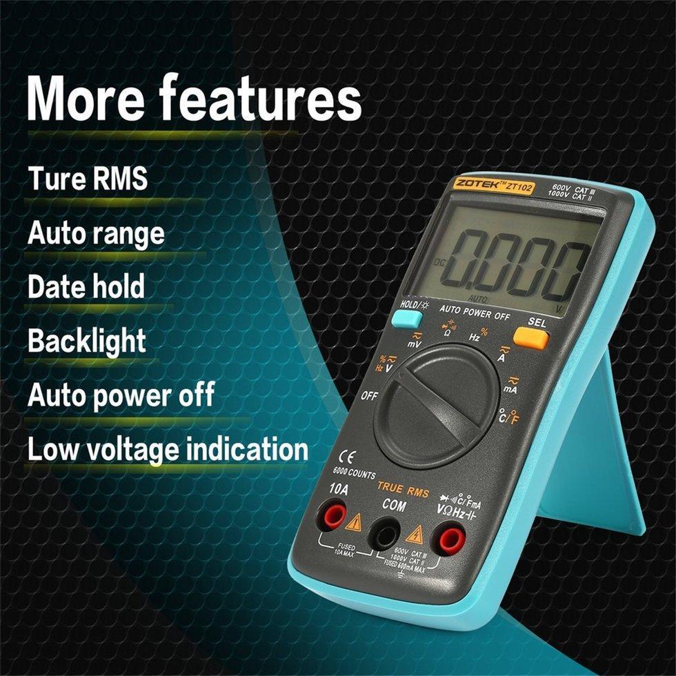ZOTEK ZT102 Mini 6000 Counts Digital Multimeter AC/DC Voltage Current t*ster