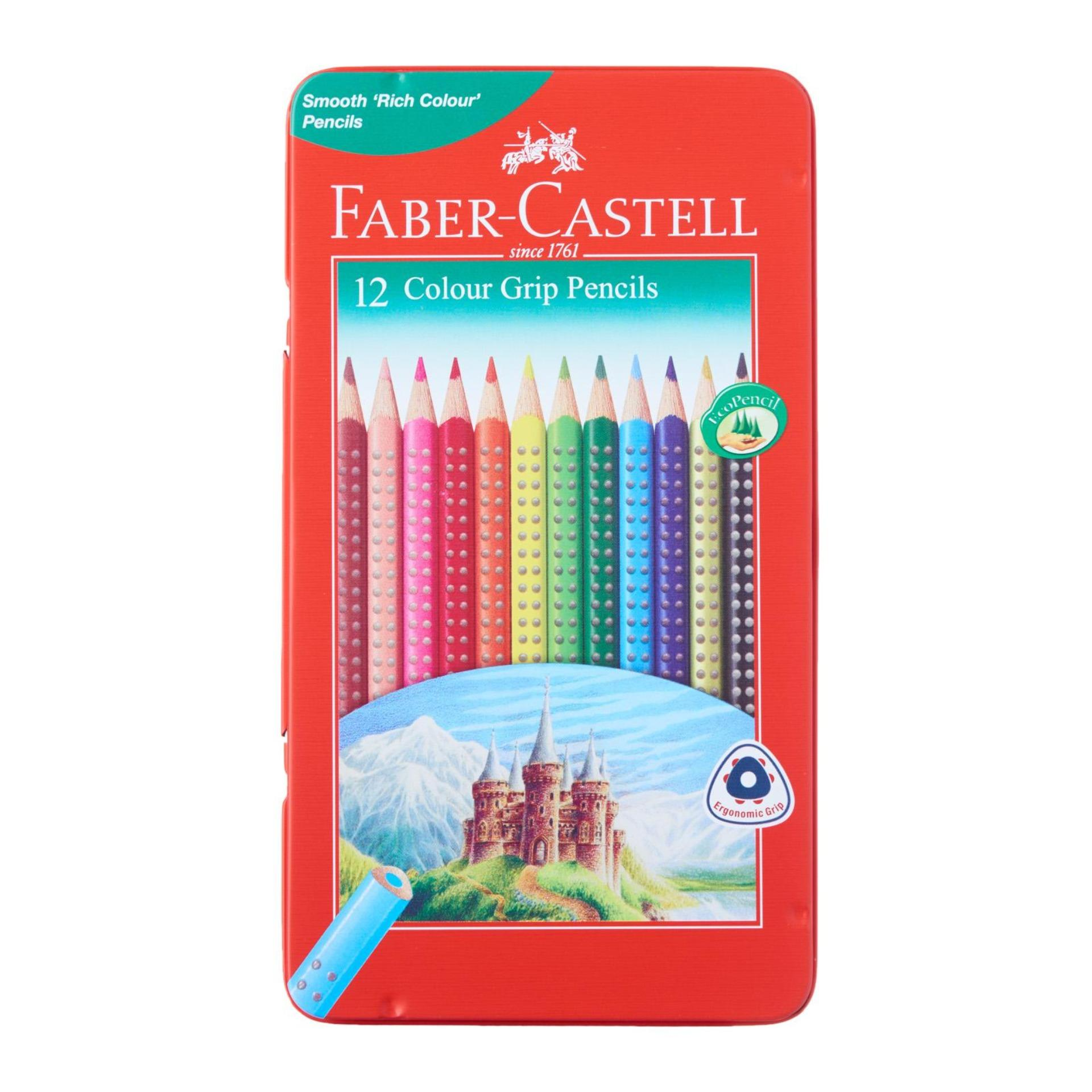 Sale Faber Castell Color Grip Pencils 12L Metal Tin Faber Castell