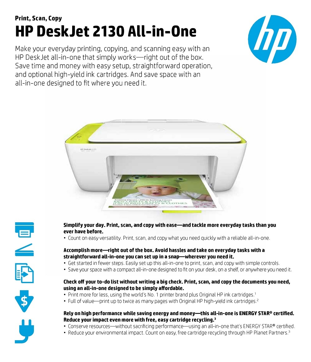 Specifications of HP DeskJet 2130 All-in-One Printer