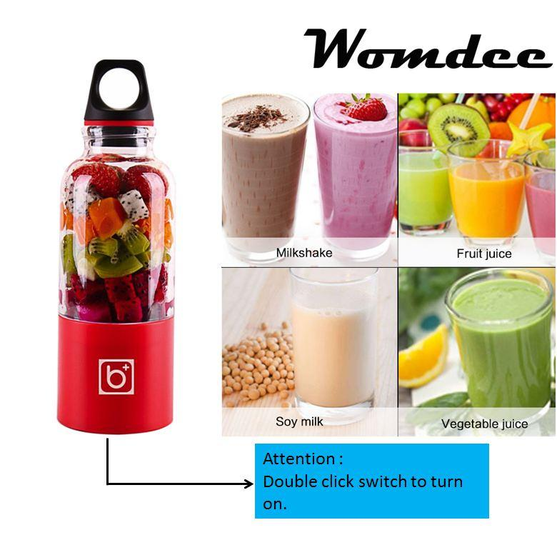 Low Price Womdee Portable Travel Juicer Bottle Usb Electric Juicer Cup Household Fruit Juicer Mixer Cup 500Ml Intl