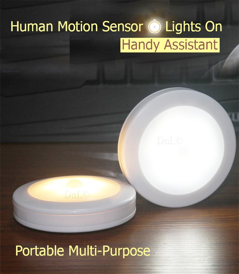 Wireless Motion Sensor LED Light Round Night Light