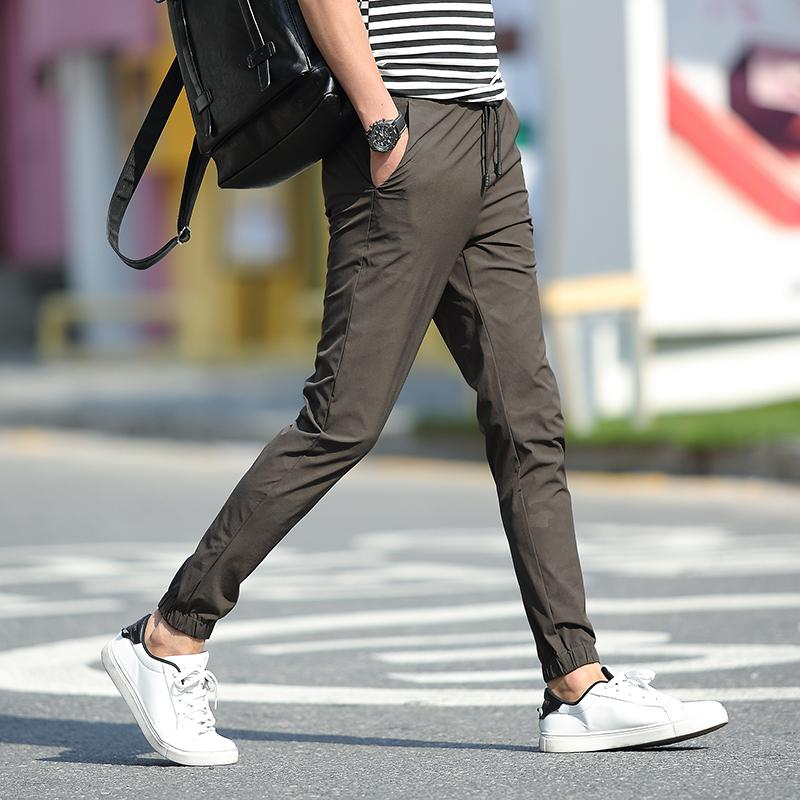 Summer Korean Style Stylish Slim Fit Stretch Thin Ankle Length Jogger Pants Male Student S Versitile Fashion Sports Quick Drying Casual Coupon