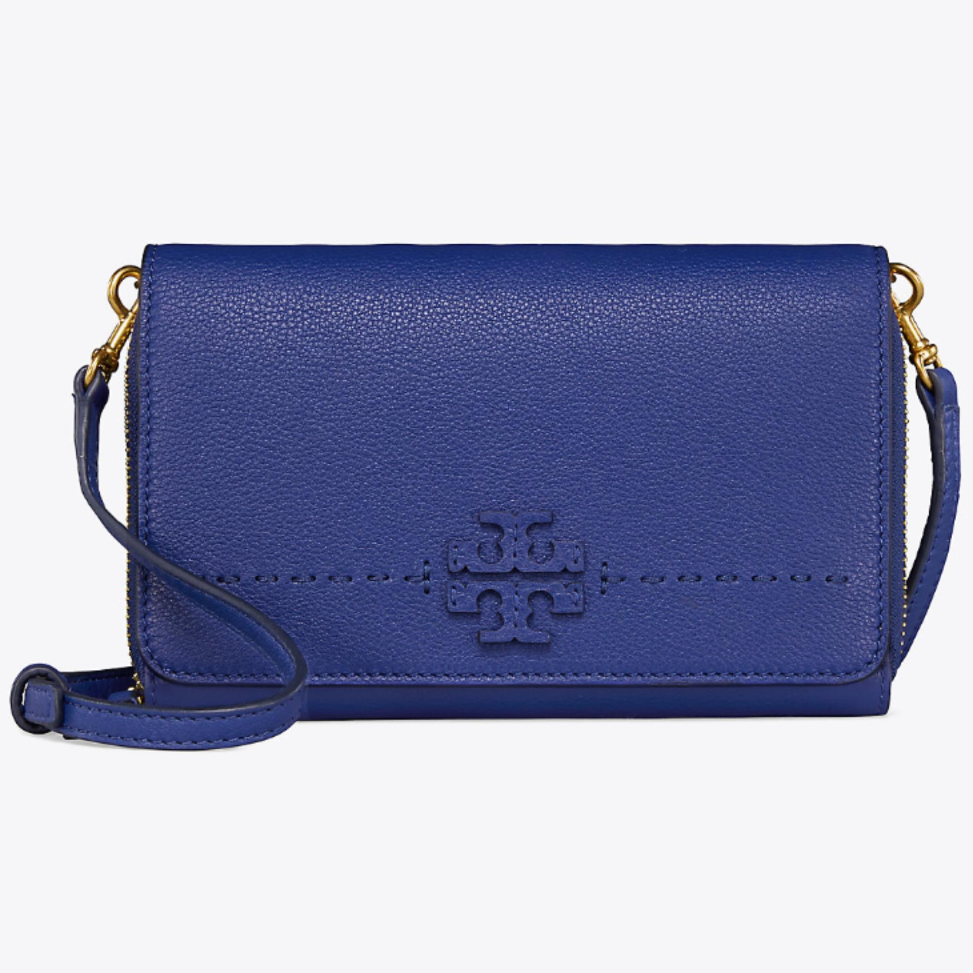 TORY BURCH McGRAW FLAT WALLET CROSS-BODY (BLUE)