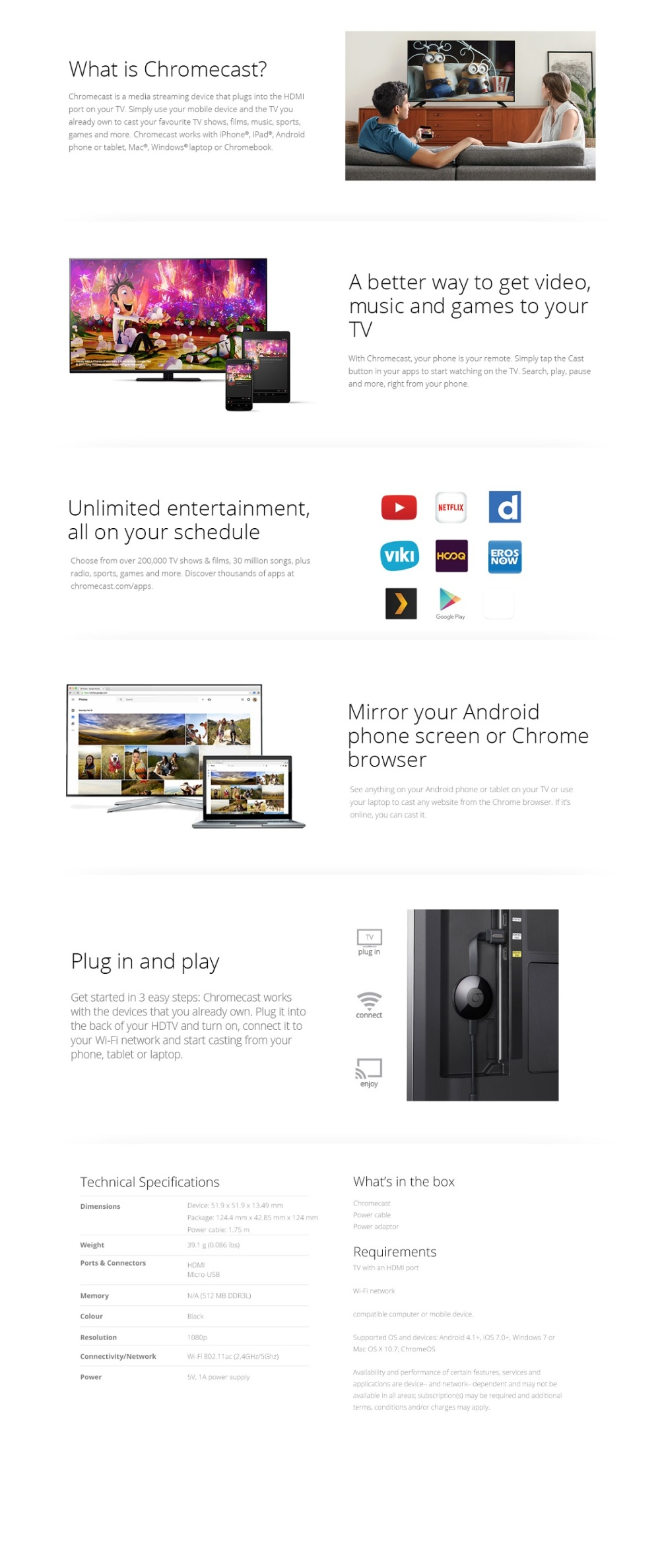 Official Google Chromecast 2 HDMI Casting Device - (Black) - Local SG Plug  with Safety Marks 11 11 Promotion!!!