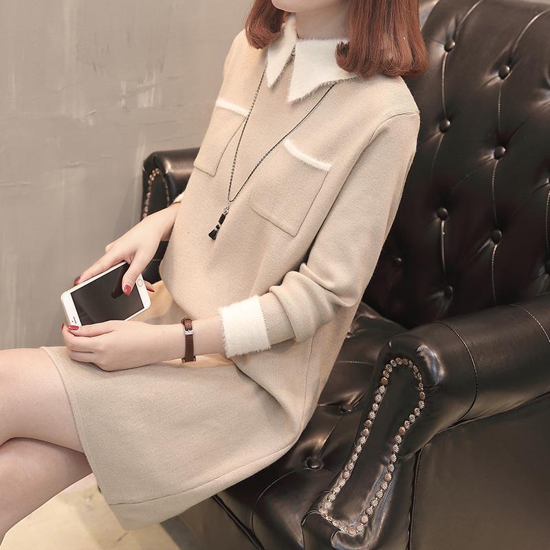 Sweater wanita 2018 model baru Gaya Korea longgar rajutan gaun musim gugur  musim dingin wanita model 8ad3dfa25d