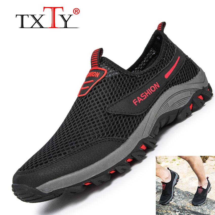Txty Outdoor Jaring Memanjat Sepatu Sepatu Mendaki Anti Selip dan Bersirkulasi Udara Kaki Sepatu Olahraga Lari
