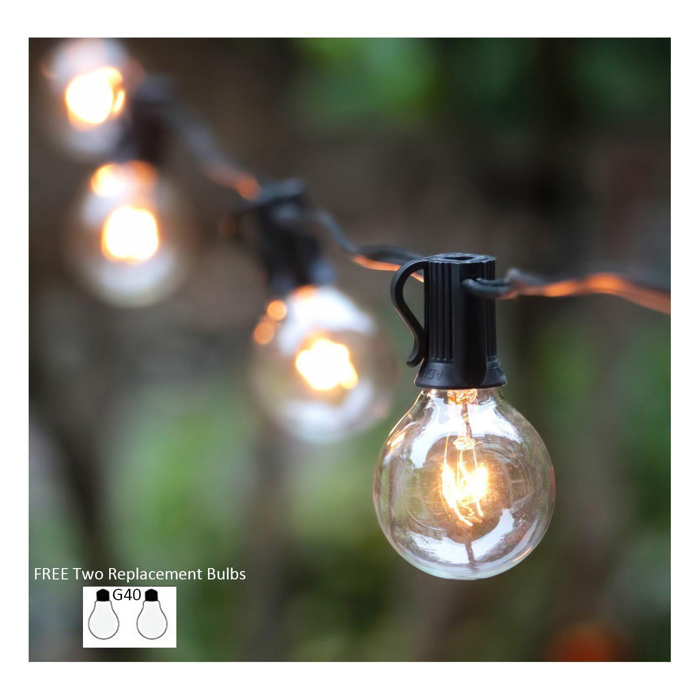 25Ft (7.6m) G40 Globe String Lights with Clear Bulbs, UL listed Backyard Patio Lights, Hanging Indoor/Outdoor String Light for Bistro Pergola Deckyard Tents Market Cafe Gazebo Porch Letters Party Decor, Black - intl