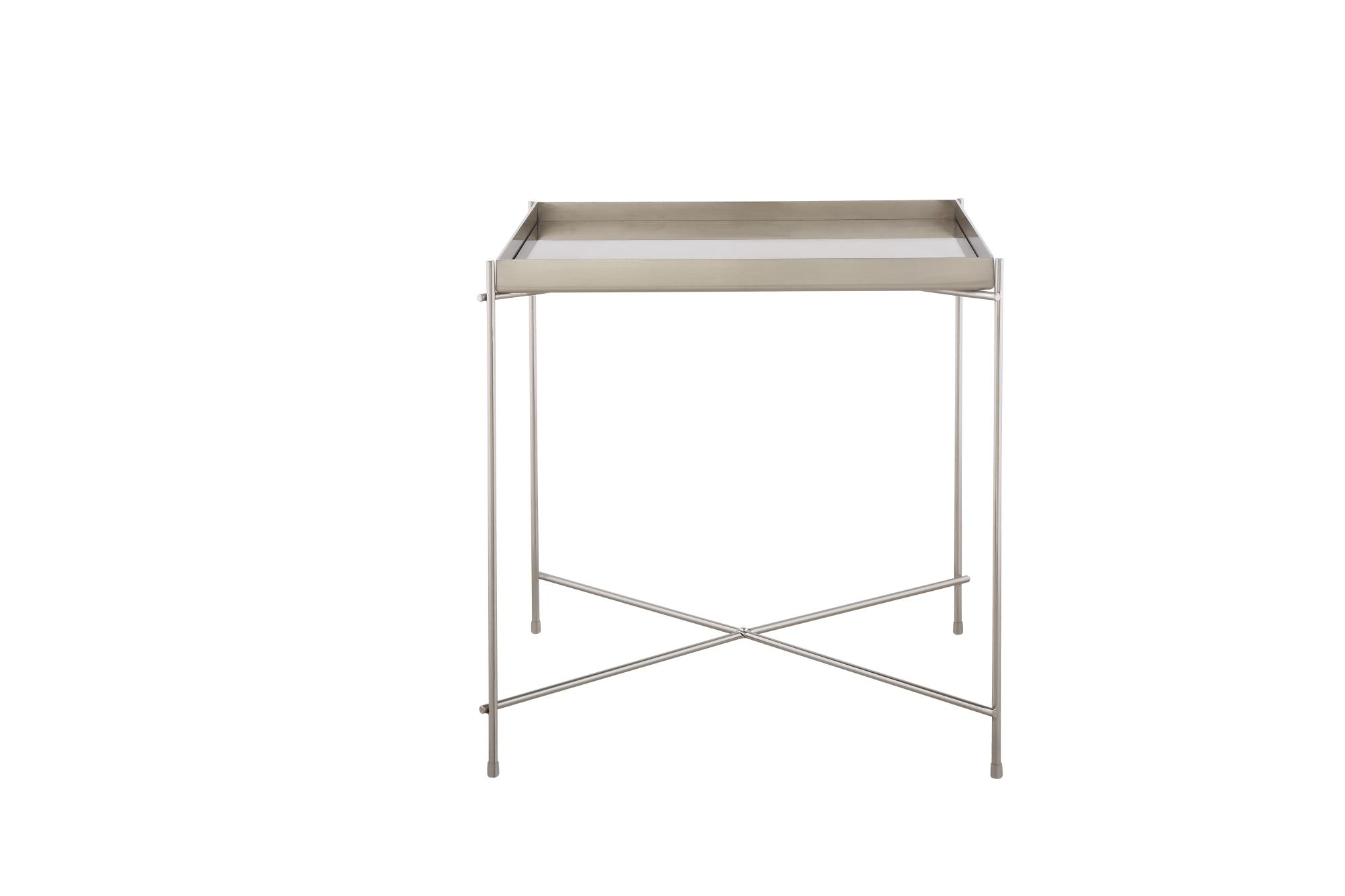 Oakland Brush Nickel Metal Mirror Side Table - Square