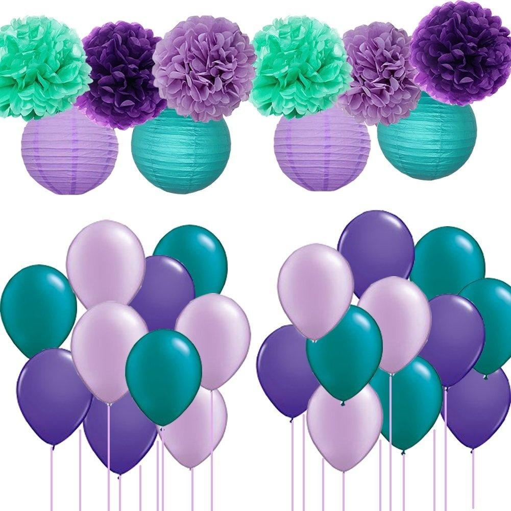 Mermaid Party Decorations 30pcs Teal Lavender Purple Pom Pom Tissue Flowers Paper Lanterns with Party Balloons Kit for Under the Sea Party Baby Shower Birthday Party Decorations