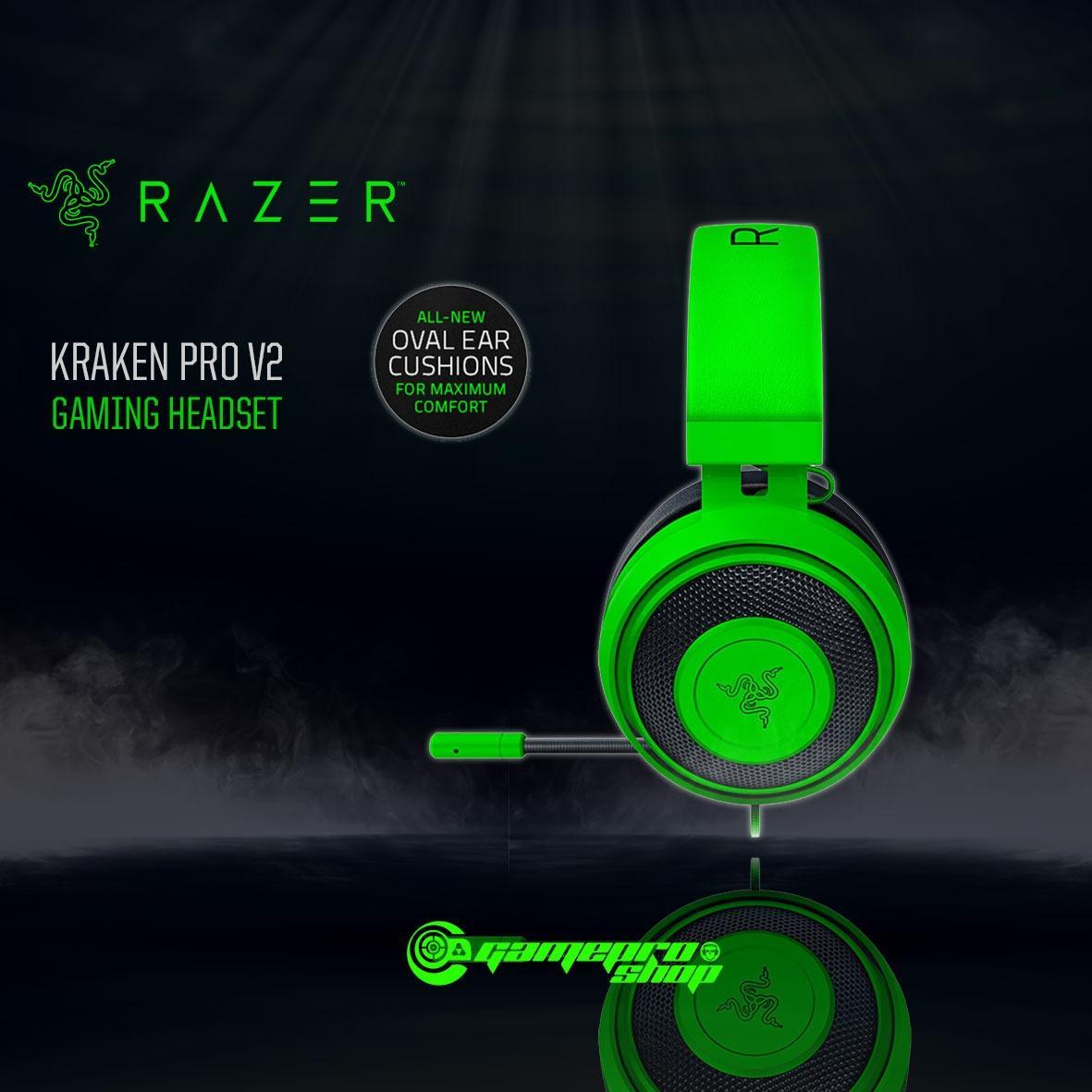 Retail Razer Kraken Pro V2 Gaming Headset Green Oval Ear Cushions Gss Promo