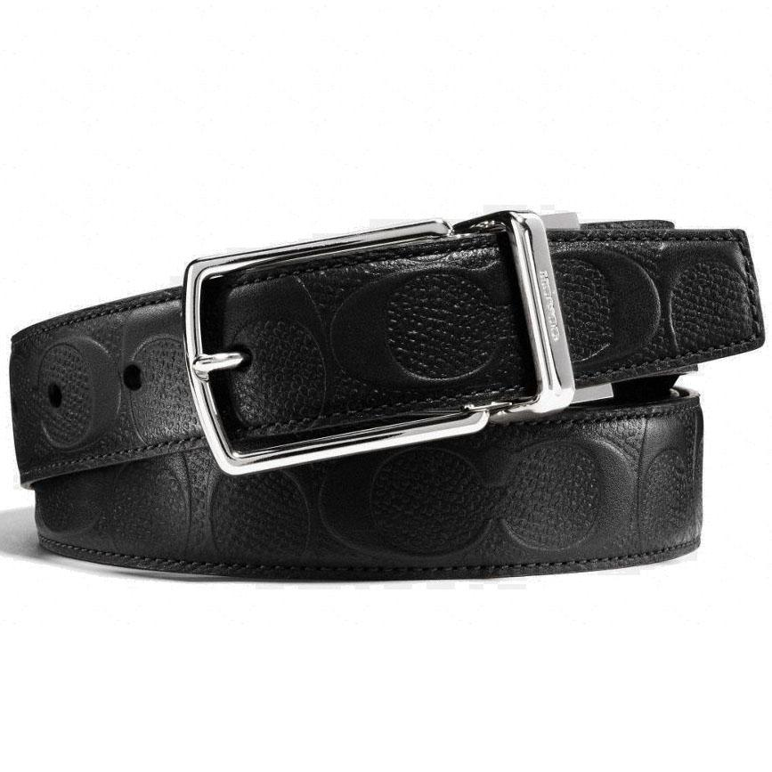 493946228d47 Coach Modern Harness Cut-To-Size Reversible Signature Leather Belt Men  Wallet Black