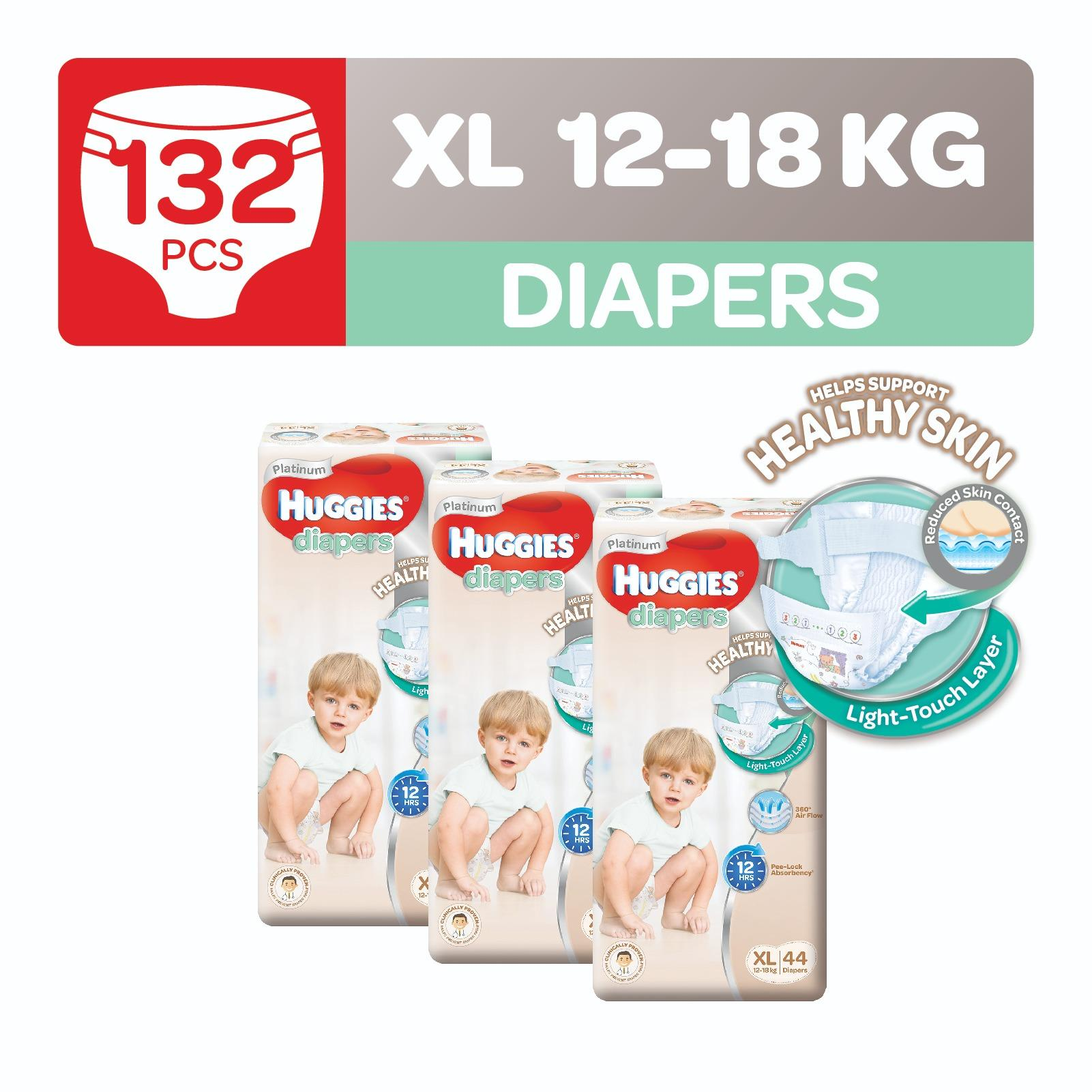 Shop For Huggies Platinum Diapers Xl 44Pcs X 3 Packs