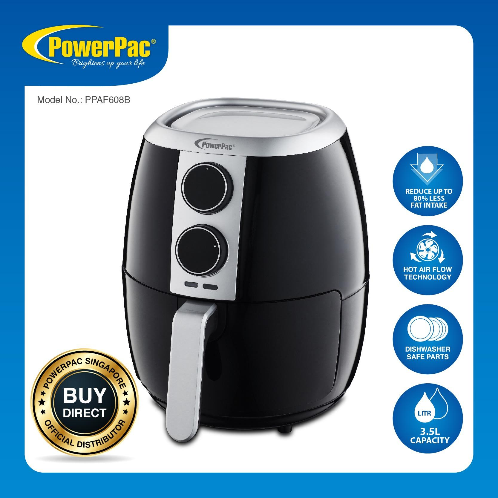 Powerpac Air Fryer 3 5L With Hot Air Flow System Ppaf608 On Singapore