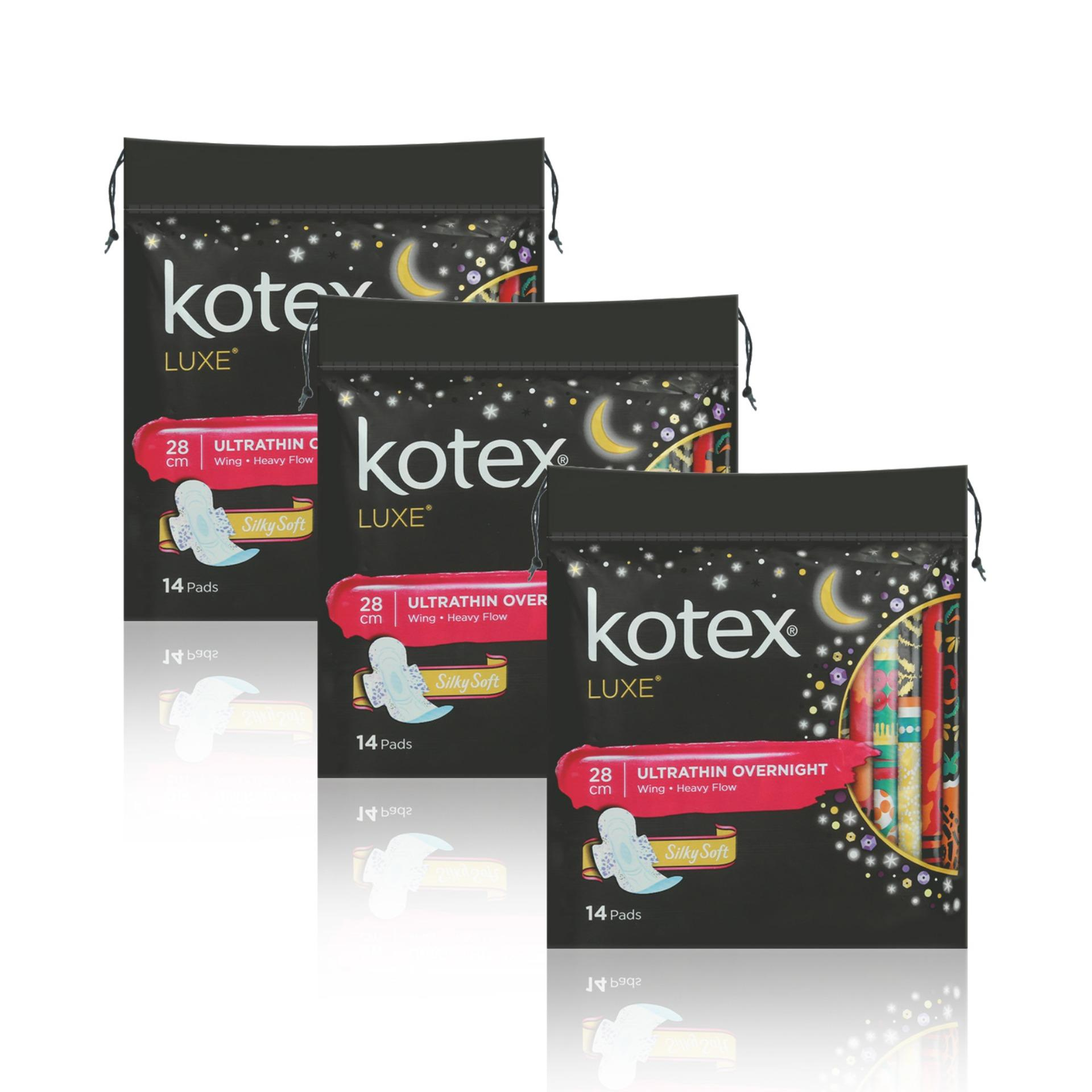 Buy Kotex Pads Luxe Ultra Thin Wing Overnight 28Cm 14Pcs X 3 Packs Online