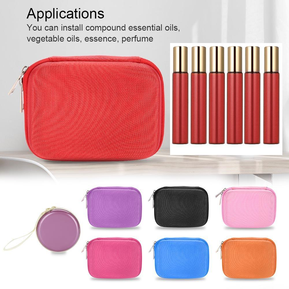 10 Slot Makeup 10ml Roller Bottles Essential Oil Glass Case Empty Carry  Holder Storage Bag