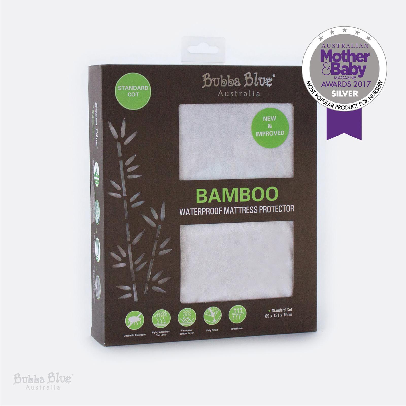 Bubba Blue Bamboo Cot Mattress Protector - Standar