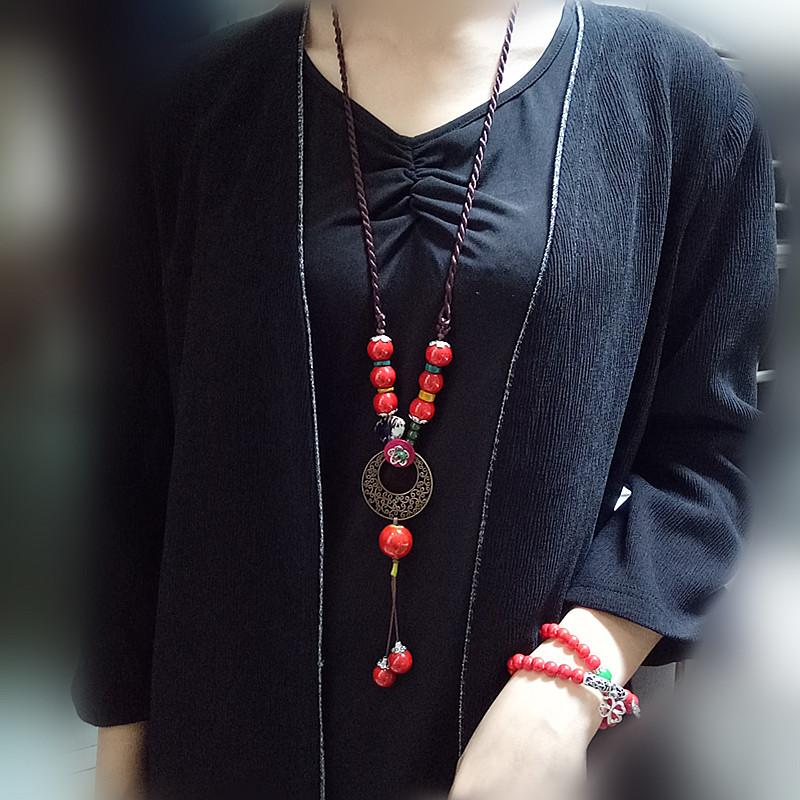 National Style ceramic necklace long sweater necklace