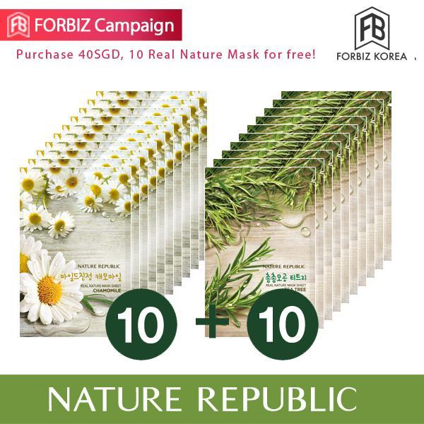 Price Compare Nature Republic Real Nature Mask Sheet X 20 Chamomile 10Ea Teatree 10Ea