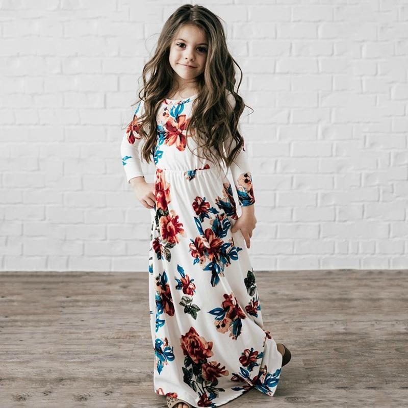 21498acfbbe76 2018 Bohemian Floral Flowers Print Long Dresses Spring Autumn Party Dress  Fashion Children Clothing Outwear Girls