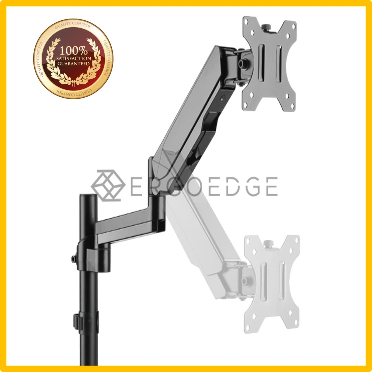 ErgoEdge Single Monitor Gas Spring Arm Mount, 17-32, Vesa Compatible, 1~8kg, Cable Management Included,  Desk Clamp, Hole Clamp,