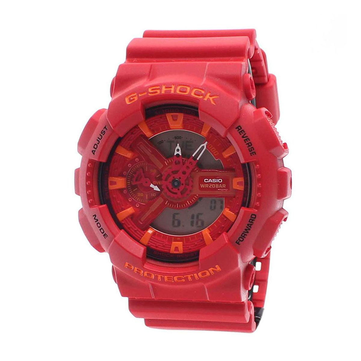 Lowest Price Casio Watch G Shock Red Resin Case Resin Strap Mens Ga 110Ac 4A
