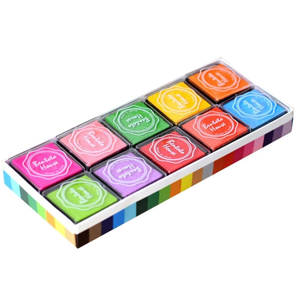 20 PCS 20 Color Craft Ink Pad Inkpad Printing Stamps for Paper Wood Fabric  Kids Fingerprint DIY Painting - intl
