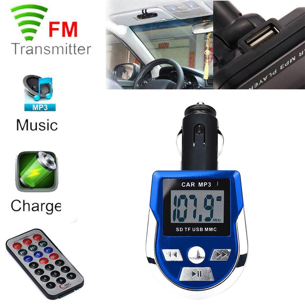 LCD Car MP3 MP4 Player Wireless FM Transmitter Modulator SD/ MMC Card w/ Remote