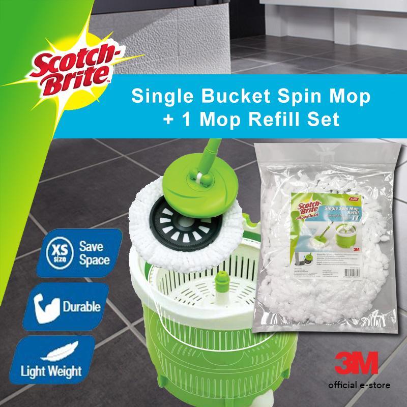 3M™ Scotch Brite™ Single Bucket Spin Mop + 1 Mop Refill