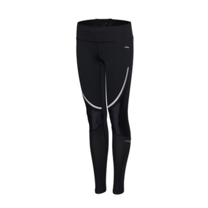 Lapisan Aulm166-1-2 Reflektif Wanita Legging Peregangan Kebugaran Celana Panjang (Standar Hitam)