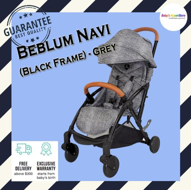 Beblum Navi Stroller (Black Frame) - Grey - Suitable from birth to 18kg (Approx. 4years) - Local seller warranty 1 YEAR Singapore