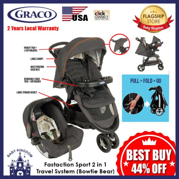 Graco Fastaction Sport Travel System 2 in 1 (Bowtie Bear) - Local Warranty Singapore