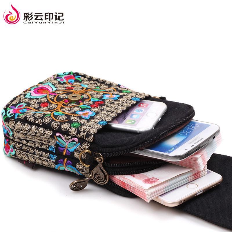 ... Caiyunyinji MIMZF bordir Dompet Uang Receh Retro 6 inci Layar Besar tas ponsel wanita selempang tas