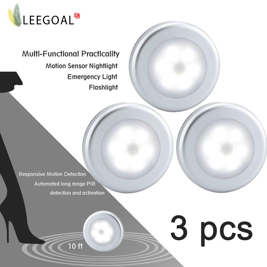 Discount Leegoal Battery Powered Motion Sensor Light Indoor Battery Operated Led Motion Sensing Night Light 3 Pcs Leegoal