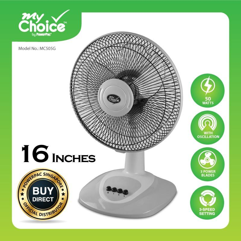 Buy My Choice Powerpac 16 Inches Desk Fan With Oscillation Mc505 On Singapore